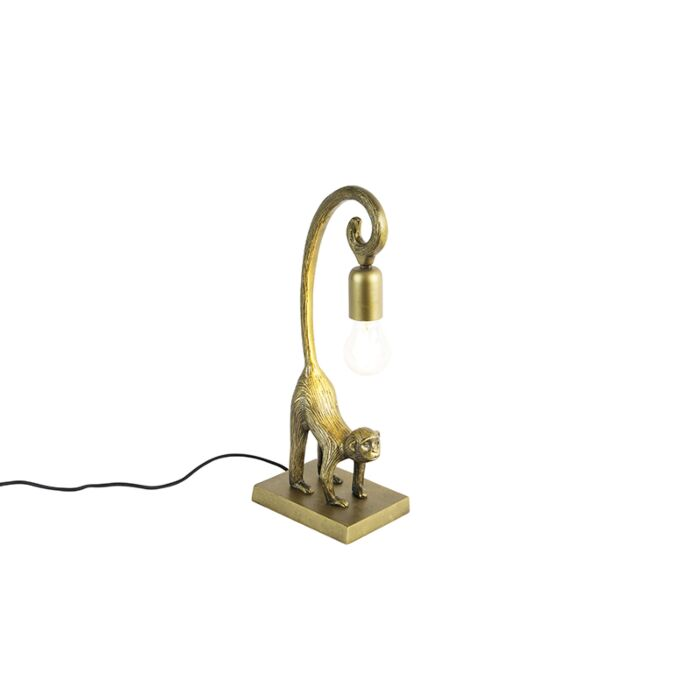 Vintage-tafellamp-messing---Aap-Hale