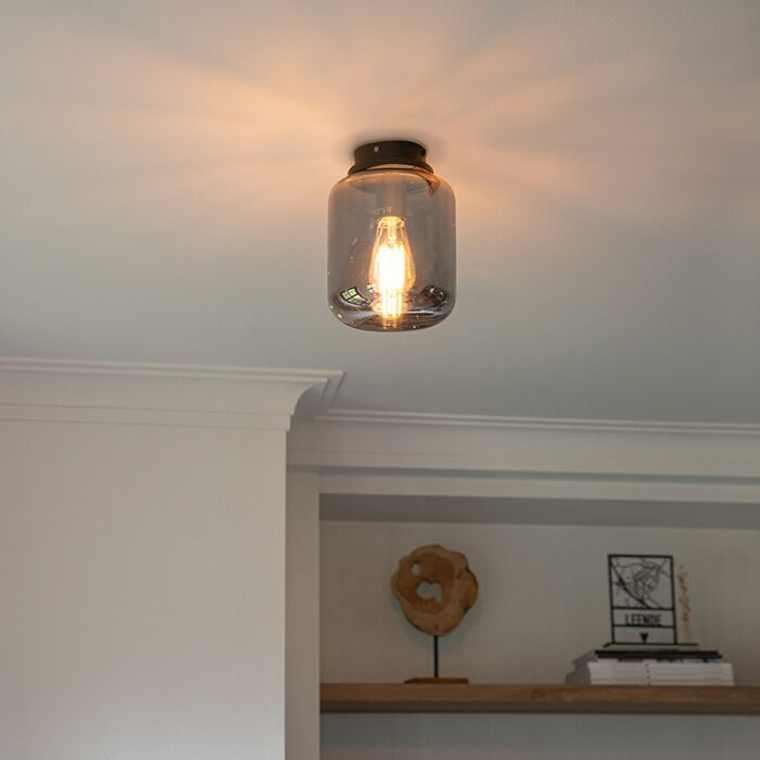 Design-plafondlamp-zwart-met-smoke-glas---Bliss