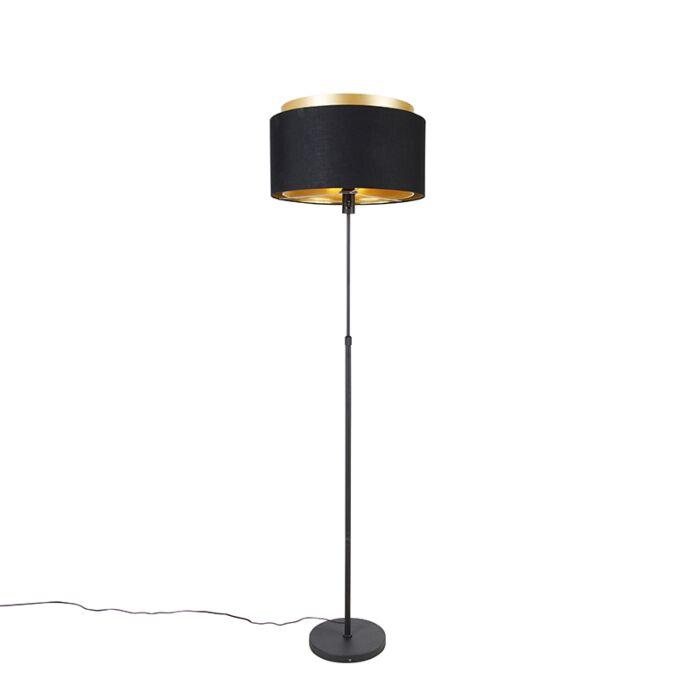 Moderne-vloerlamp-zwart-met-goud-duo-kap---Parte