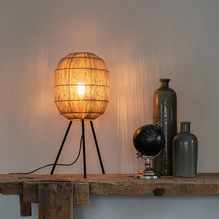 Oosterse-tafellamp-zwart-met-touw---Riki