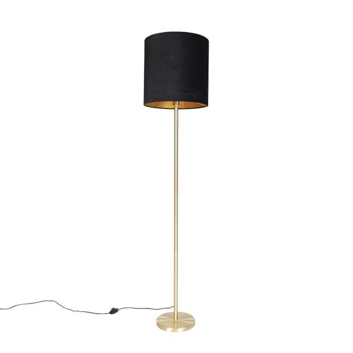 Klassieke-vloerlamp-messing-met-zwarte-kap-40-cm---Simplo