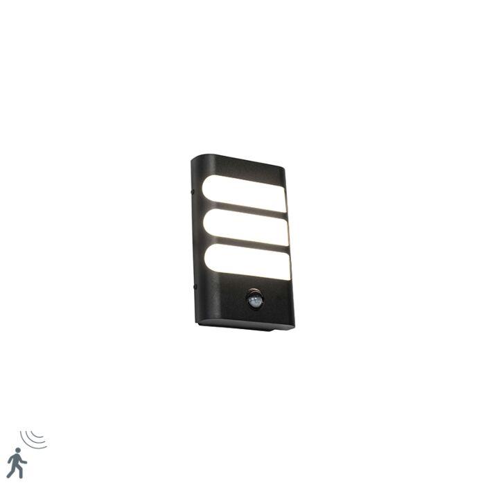 Buitenwandlamp-zwart-incl.-LED-met-bewegingssensor---Gaev