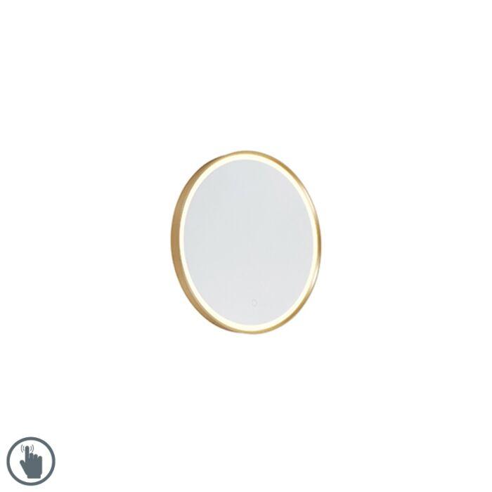 Ronde-badkamerspiegel-goud-50-cm-incl.-LED-met-touchdimmer---Miral