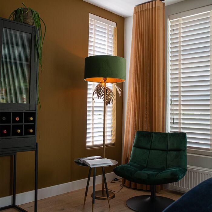 Vintage-vloerlamp-goud-met-velours-kap-groen---Botanica