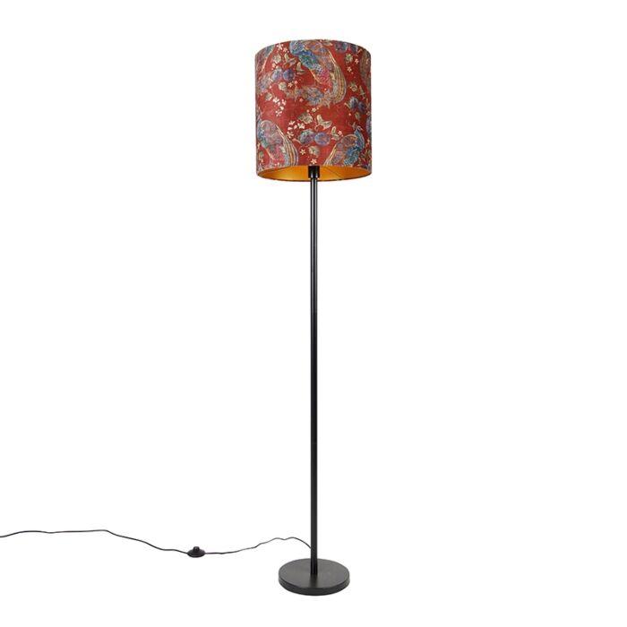 Vloerlamp-zwart-kap-pauw-dessin-rood-40-cm---Simplo
