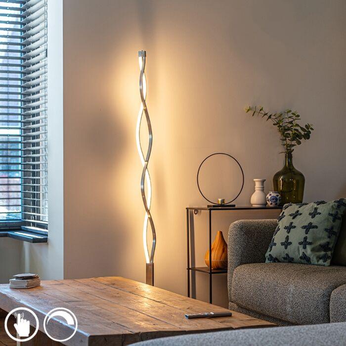 Design-vloerlamp-aluminium-incl.-LED-en-touch-dimmer---Auron