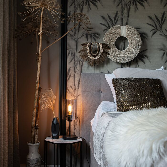 Design-tafellamp-zwart-met-smoke-glas-op-standaard---Dome