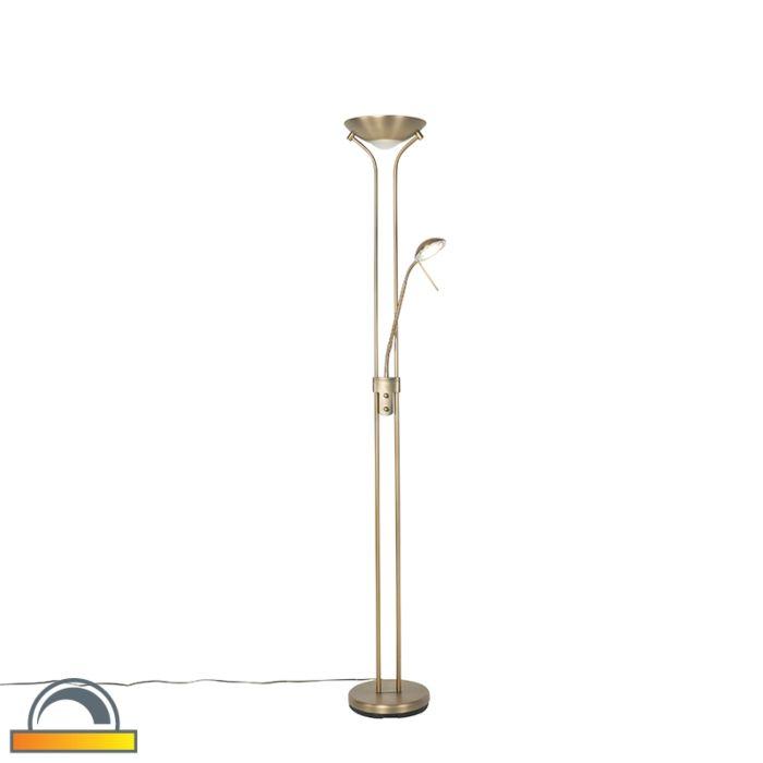 Moderne-vloerlamp-brons-met-leeslamp-incl.-LED-dim-to-warm---Diva