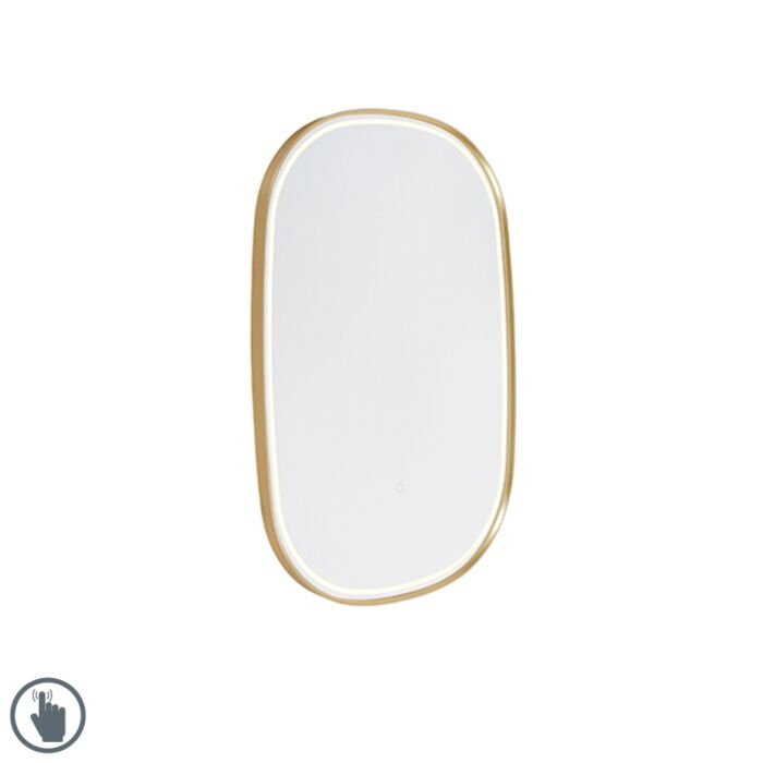 Ovale-badkamerspiegel-goud-90x60-cm-incl.-LED-met-touchdimmer---Miral