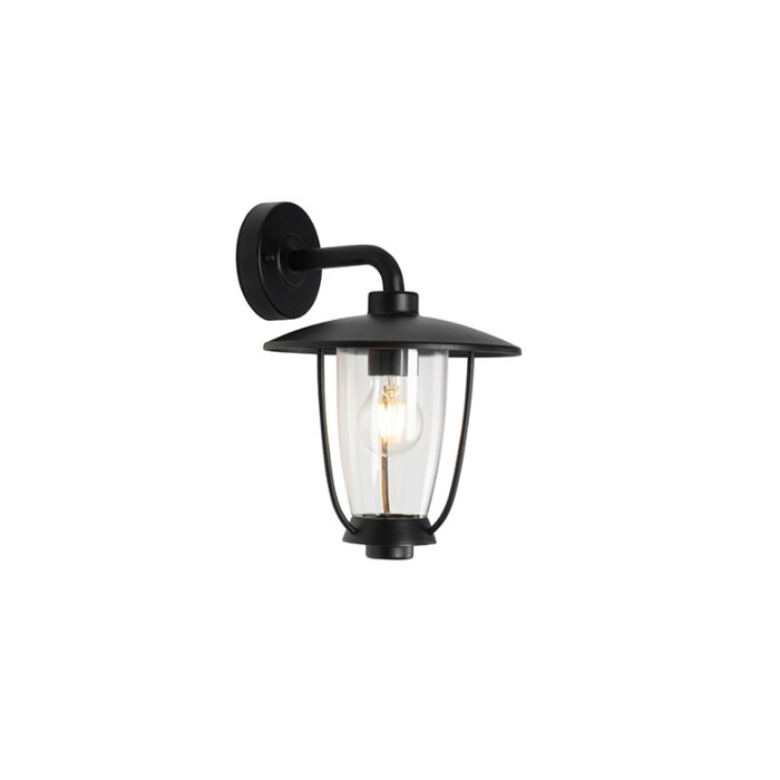 Moderne-buitenwandlamp-zwart-IP44---Khana