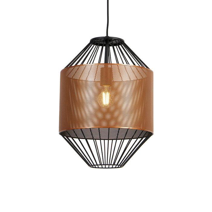 Design-hanglamp-koper-met-zwart-33-cm---Mariska