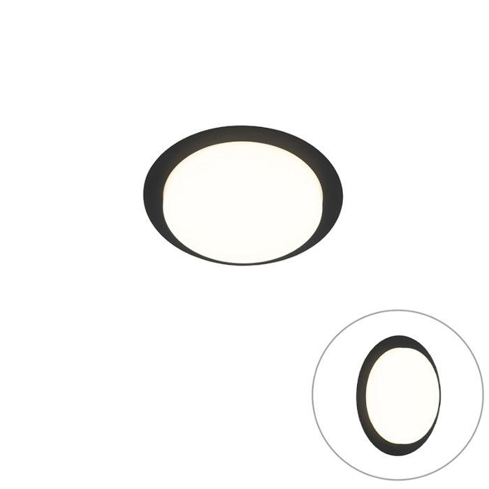 Moderne-plafondlamp-zwart-rond-incl.-LED-IP44---Lys