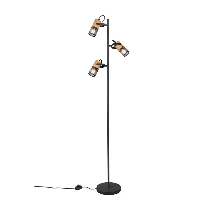 Industriële-vloerlamp-zwart-met-hout-3-lichts---Manon