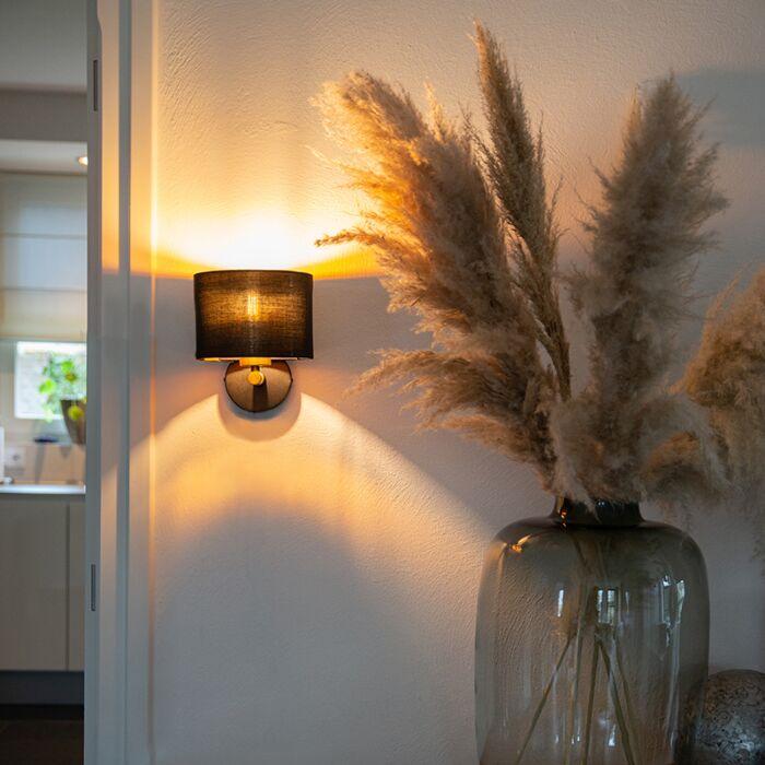Moderne-wandlamp-zwart-met-goud---VT-1