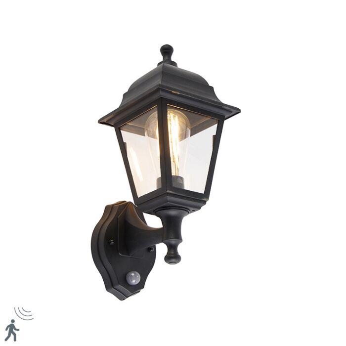 Klassieke-buitenwandlamp-zwart-met-bewegingsmelder---Capital