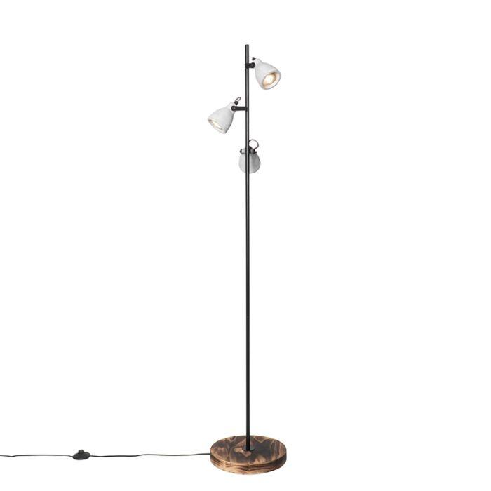 Industriële-vloerlamp-hout-met-beton-3-lichts---Creto