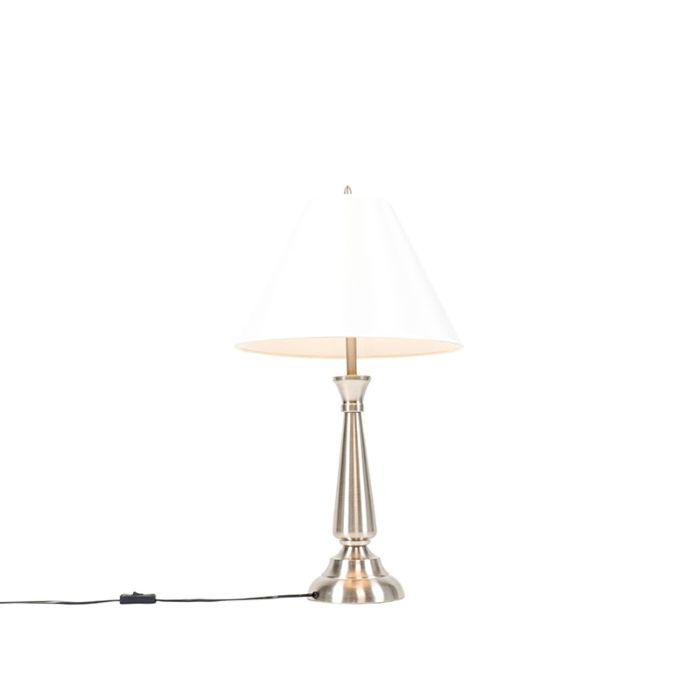 Klassieke-tafellamp-staal-met-crème-kap---Taula