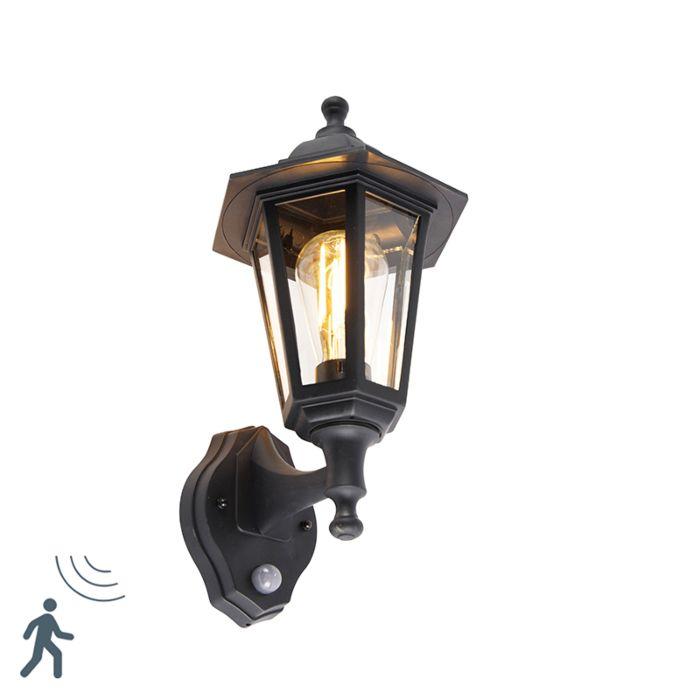 Klassieke-buiten-wandlamp-zwart-met-bewegingssensor---New-Haven