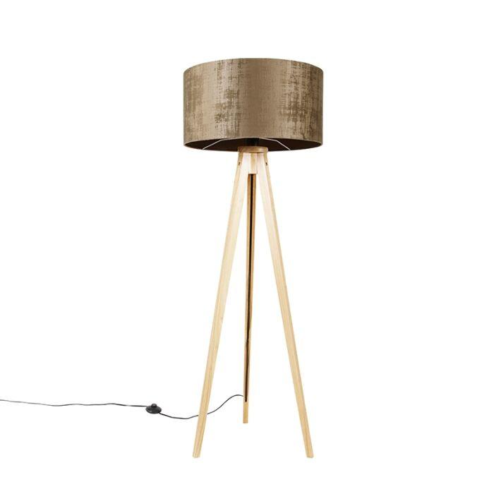 Vloerlamp-hout-met-stoffen-kap-bruin-50-cm---Tripod-Classic