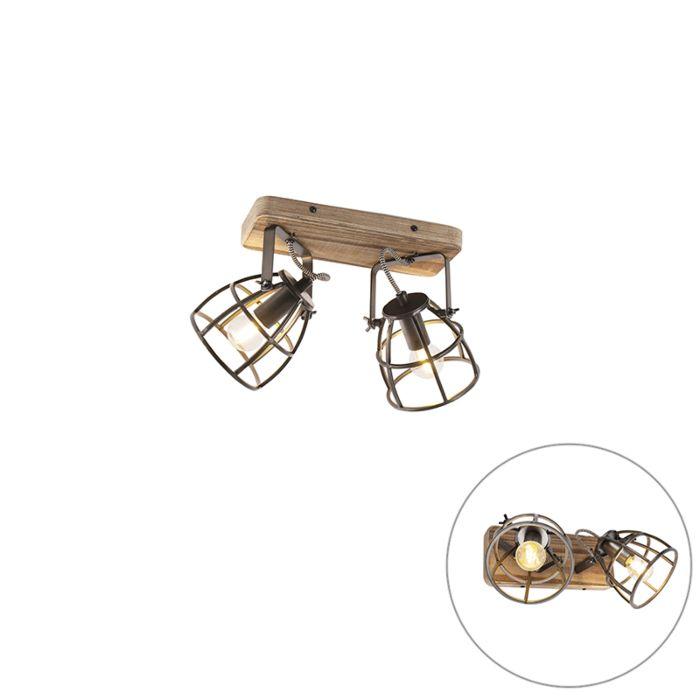 Industriële-spot-zwart-met-hout-verstelbaar-2-lichts---Arthur