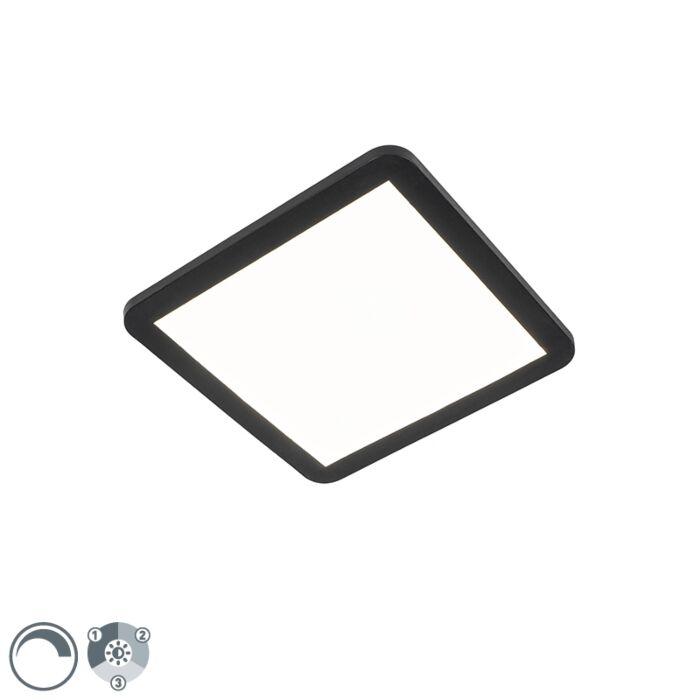 Plafonnière-zwart-30-cm-incl.-LED-3-staps-dimbaar-IP44---Steve