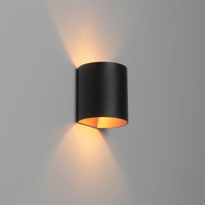 Moderne-wandlamp-zwart-met-gouden-binnenkant---Sabbio