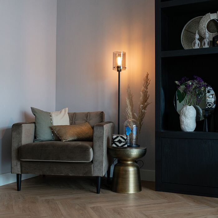Design-vloerlamp-zwart-met-smoke-glas---Dome