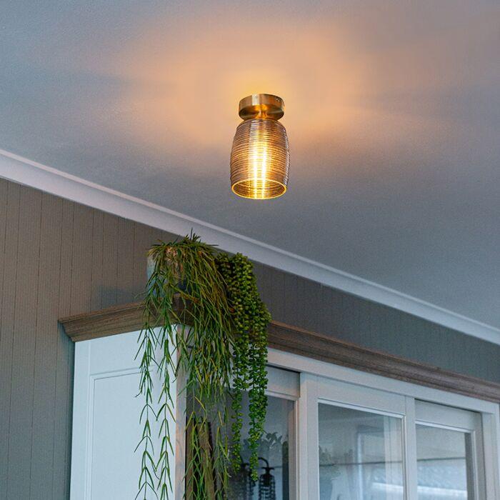 Art-deco-plafondlamp-messing-met-smoke-glas---Michi