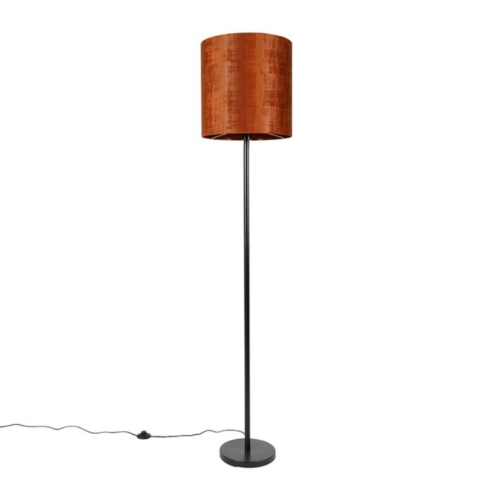 Vloerlamp-zwart-velours-kap-oranje-40-cm---Simplo