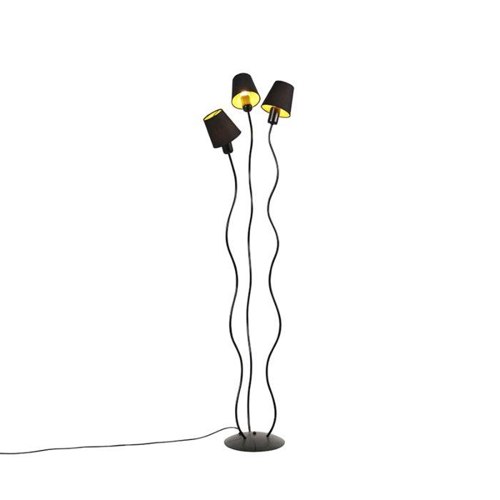 Design-vloerlamp-zwart-3-lichts-met-klemkappen---Wimme