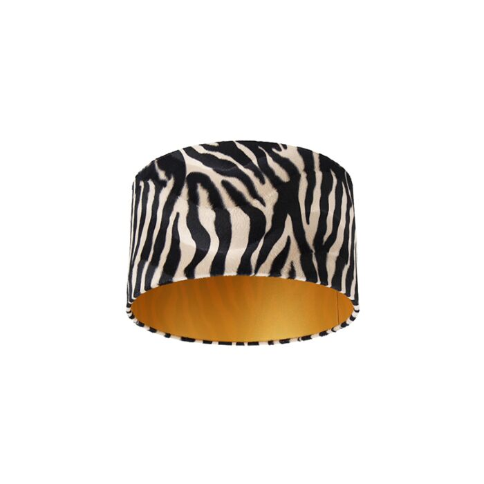 Velours-lampenkap-zebra-dessin-35/35/20-gouden-binnenkant