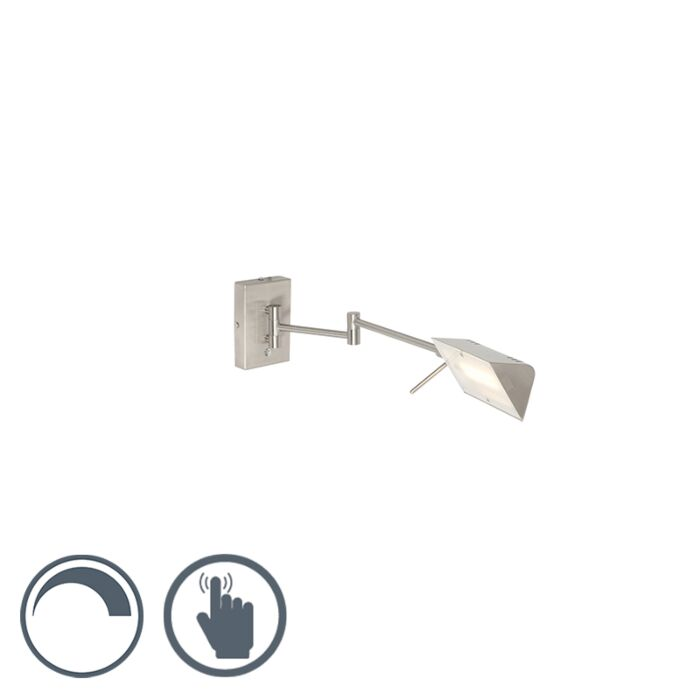Moderne-wandlamp-staal-incl.-LED-met-touch-dimmer---Notia