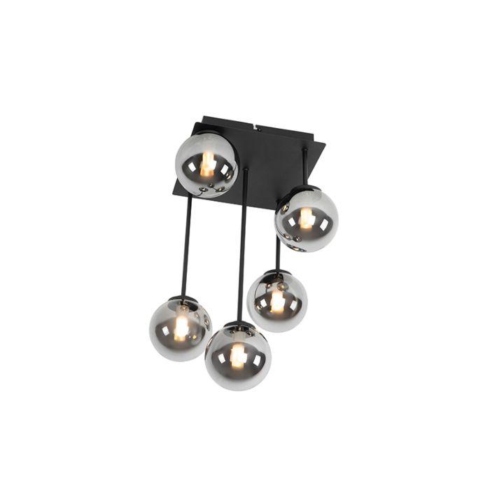 Moderne-plafondlamp-zwart-5-lichts-met-smoke-glas---Athens