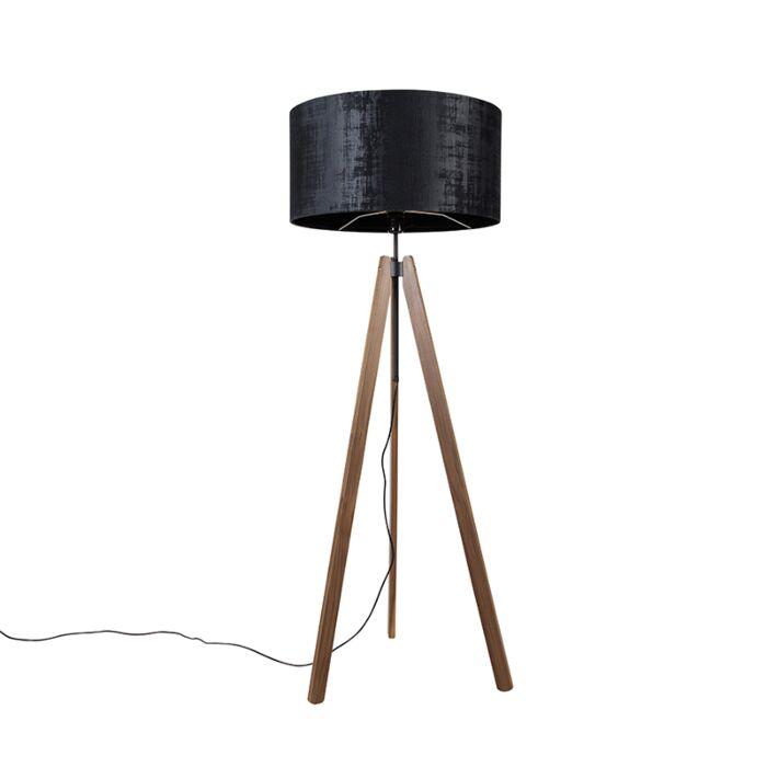 Landelijke-vloerlamp-tripod-bruin-met-kap-zwart-50-cm---Telu