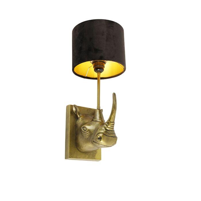 Vintage-wandlamp-goud-stoffen-kap-zwart---Animal-Naesehorn