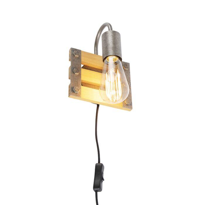Industriële-wandlamp-staal-met-hout---Paleta