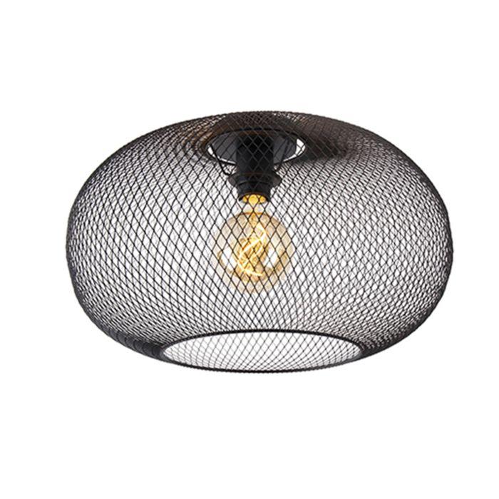 Moderne-plafondlamp-zwart-45-cm---Mesh-Ball