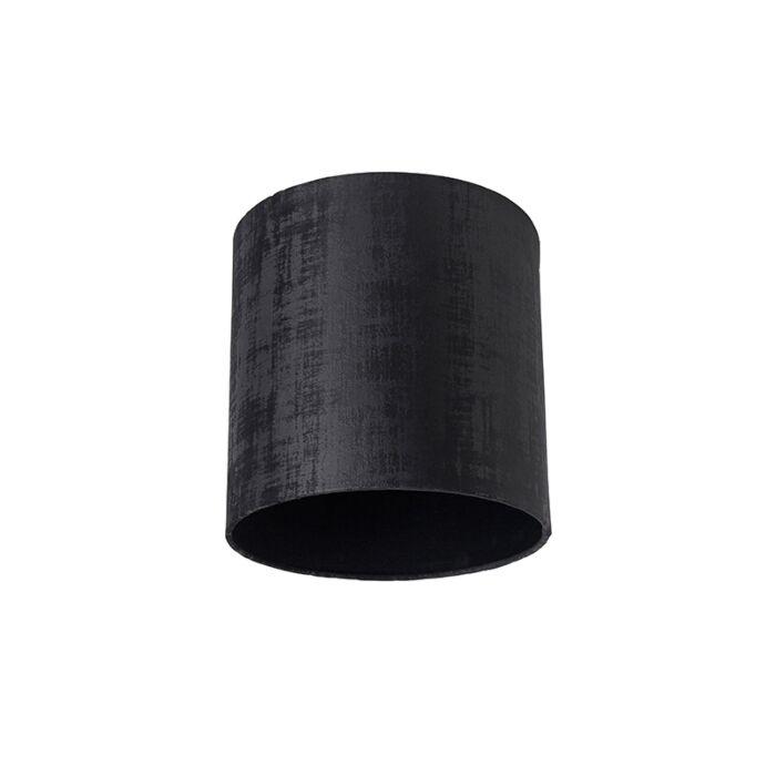 Velours-lampenkap-zwart-25/25/25