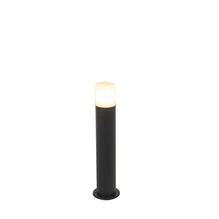 Buitenlamp-zwart-met-opaal-witte-kap-50-cm---Odense