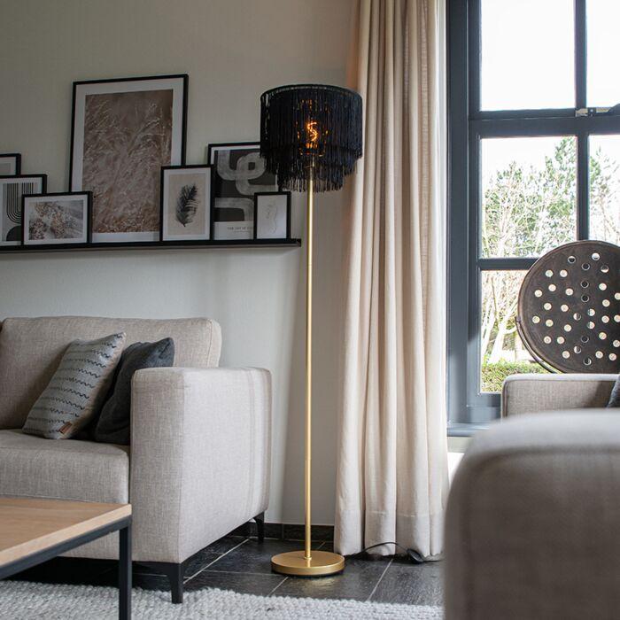 Oosterse-vloerlamp-goud-zwarte-kap-met-franjes---Franxa