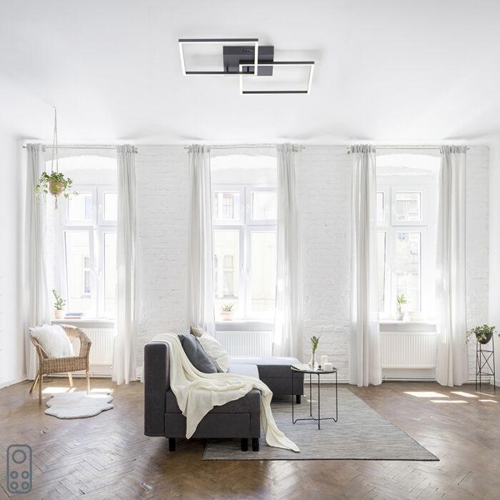 Plafondlamp-zwart-incl.-LED-2700-5000K-2-lichts---Amanda