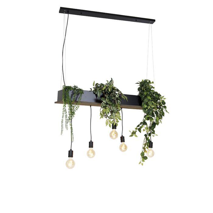Landelijke-hanglamp-zwart-met-hout-5-lichts---Flair
