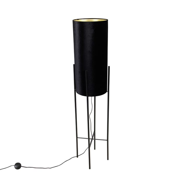 Design-vloerlamp-zwart-velours-kap-zwart-met-goud---Rich