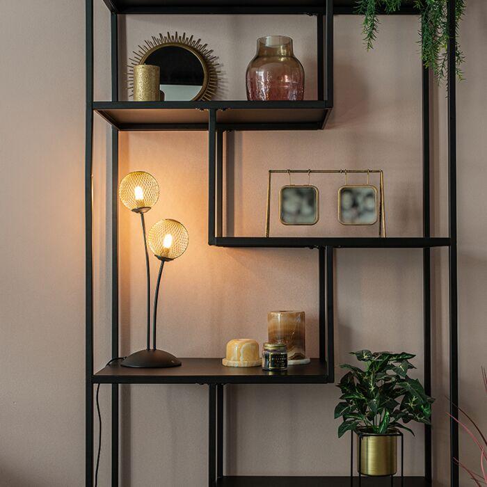 Moderne-tafellamp-zwart-met-goud-2-lichts---Athens-Wire
