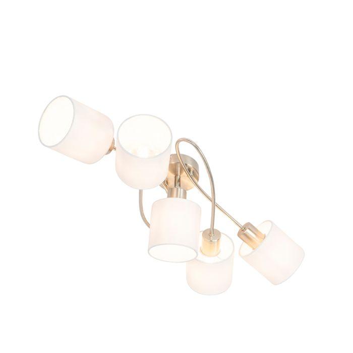 Moderne-plafondlamp-staal-met-witte-kappen-5-lichts---Hetta