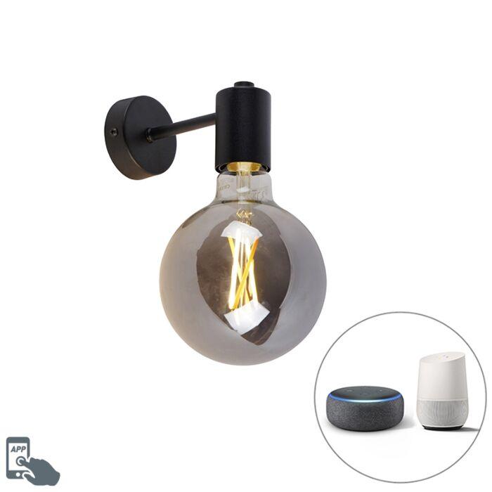 Smart-wandlamp-zwart-incl.-WiFi-G125-smoke-glas---Facil-1