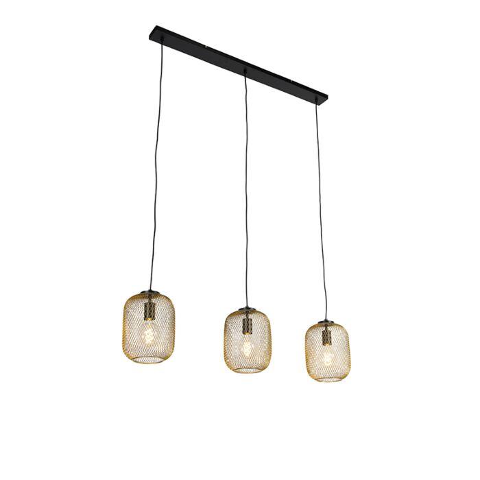 Industriële-hanglamp-goud-110-cm-3-lichts---Bliss-Mesh