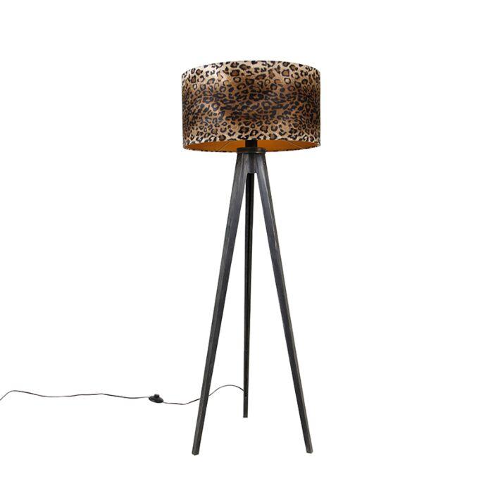 Vloerlamp-tripod-zwart-met-kap-luipaard-50-cm---Tripod-Classic