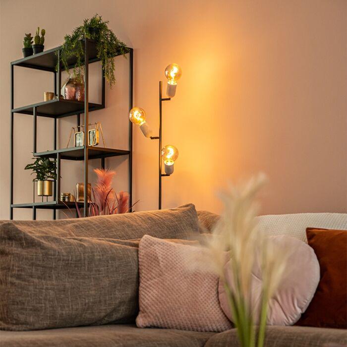 Industriële-vloerlamp-zwart-met-beton-3-lichts---Pedra