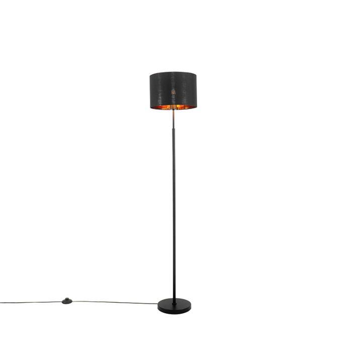 Moderne-vloerlamp-zwart-met-goud-rond---VT-1